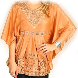 Tops - NEW Bronze Orange Batwing Top Goddess Embroidery